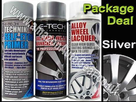 E-Tech profesional rueda de aleación de coche spray de pintura de plata y lacado
