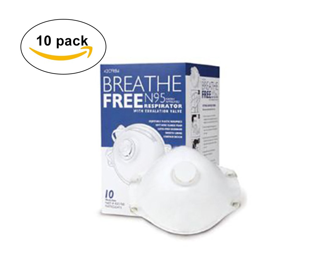 Breathe Free 10 pack N95 Dust Masks - NIOSH Certified - Safety Particulate Respirator w/Valve for Professional & Home Use (FREE BONUS GIFT)