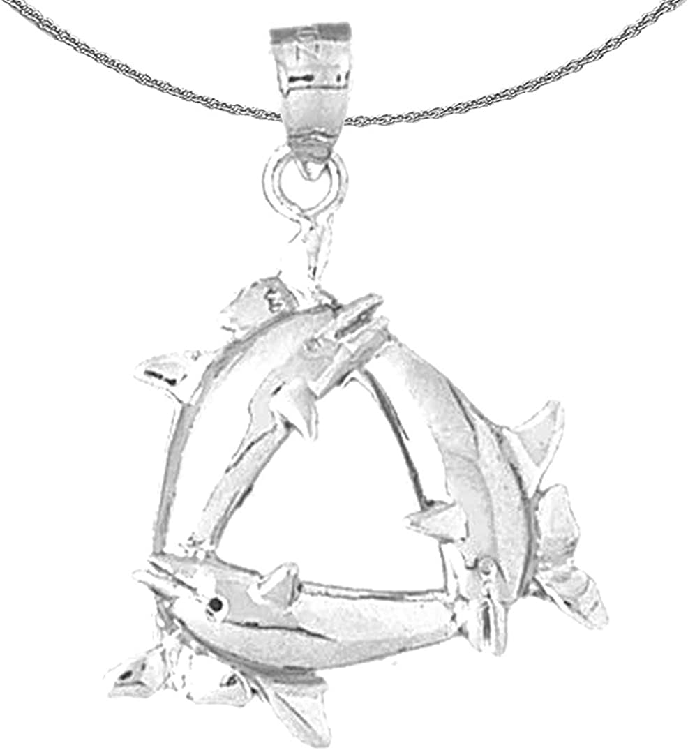 Rhodium-plated 925 Silver Dolphin Pendant with 18 Necklace Jewels Obsession Silver Dolphin Necklace