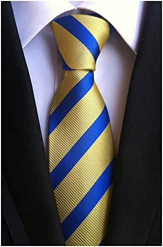 Allbebe Men's Classic Striped Yellow Woven Silk Tie Microfiber Formal Necktie
