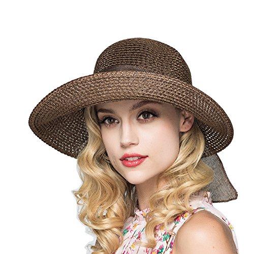 (Kekolin Womens Straw Hat Floppy Foldable Roll up Beach Cap Sun Hat Coffee)