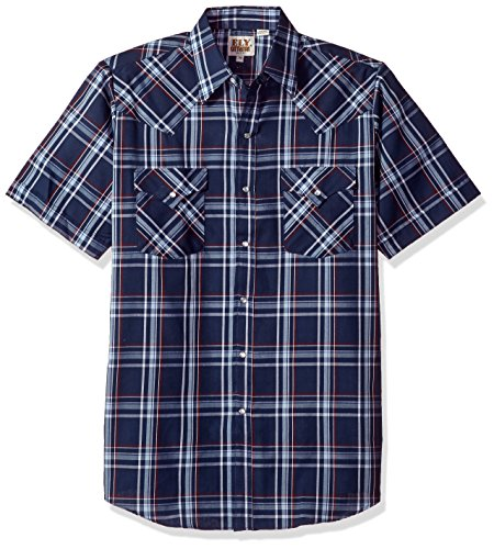 Ely & Walker Men's Short Sleeve Plaid Western Shirt, Navy, (Snap Front Western Shirt)