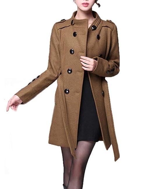 Abrigo Mujer Largos Invierno Talla Grande Outwear Elegantes Manga Larga Stand Cuello Slim Fit Doble Botonadura Clásico Fashion Classic Termica Gabardina ...