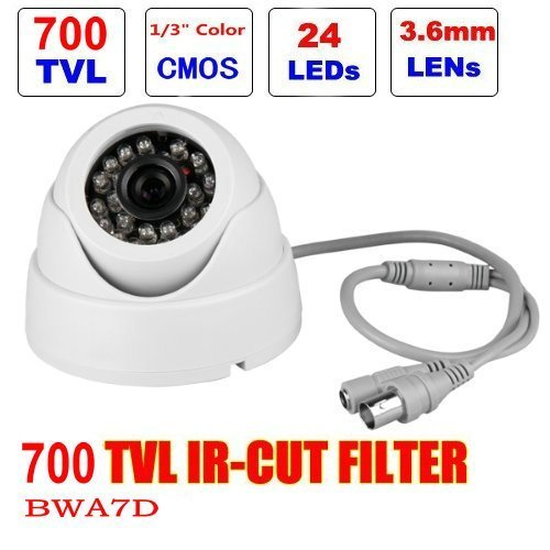 "BW® BWA7D 1/4"" 700TVL Indoor Day Night Security Surveillance CCTV Dome Camera With 20M IR Range Night Vision-White"
