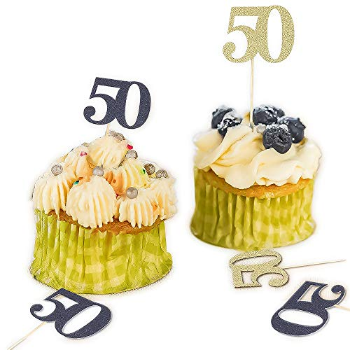 YOZATIA 25PCS Gold Cupcake Toppers and 25PCS Black Cupcake Picks, 50 DIY Cupcake Toppers for 50 Anniversary 50th Birthday Celebrating Party(Gold+Black) - Assembly Required