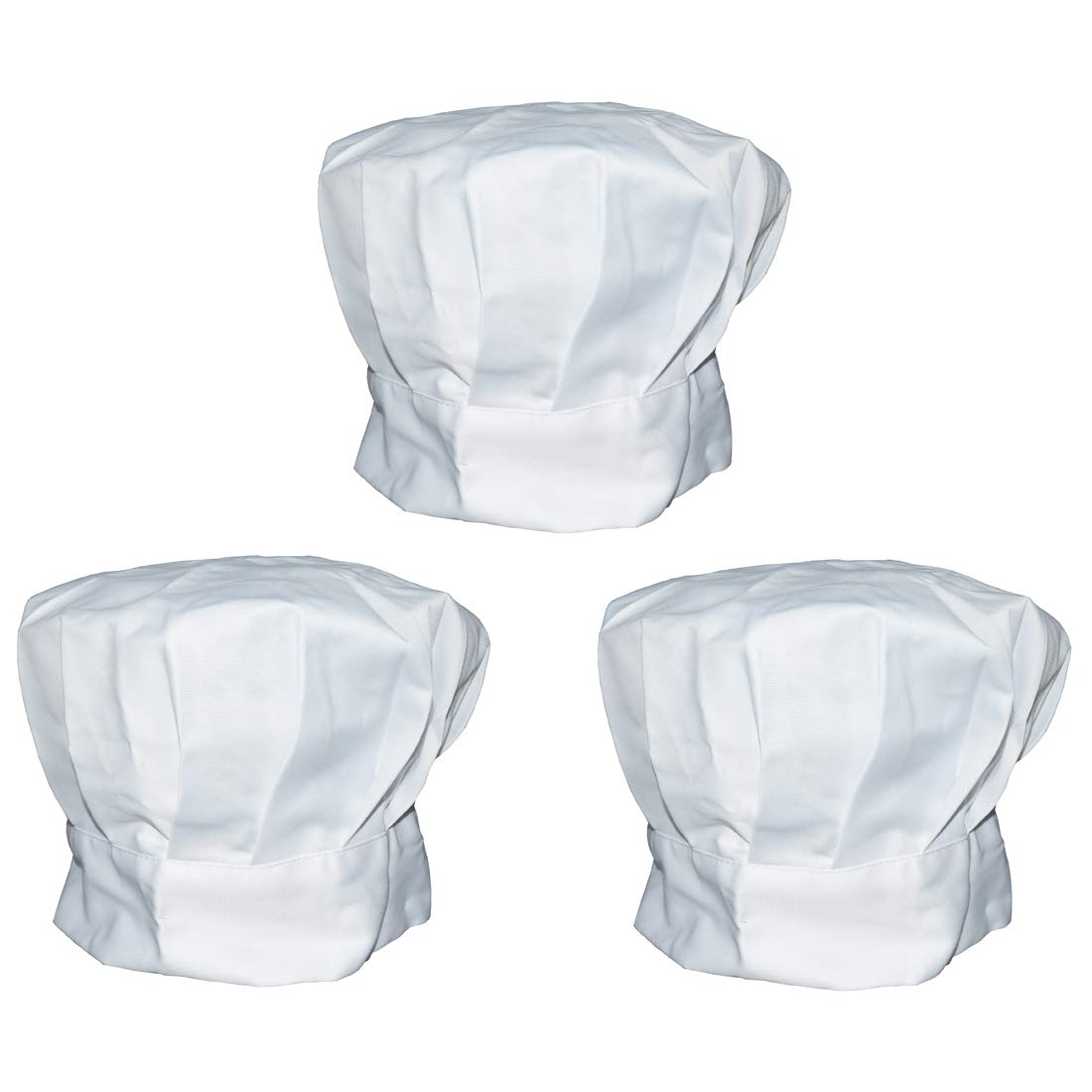 Richohome Chef Hat Set of 3 Adult Adjustable Elastic Baker Kitchen Cooking Chef Cap, White