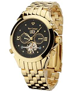 Yves Camani Navigator G-30803-D - Reloj de caballero automático, correa de acero inoxidable color oro