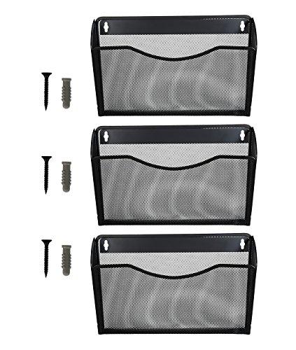 Superbpag 3 Pocket Hanging Wall File Holder Organizer Magazine Rack, Black