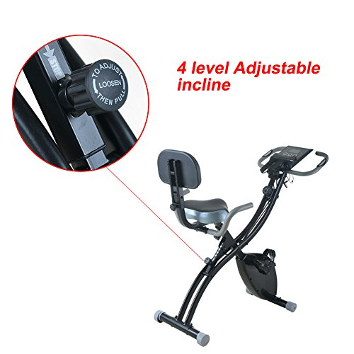 GUJJIFUN Foldable Magnetic Upright Bike Stationary Exercise Bike with 8 levels Adjustable Resistance for Cardio Workout Indoor Cycling Pulse Monitoring