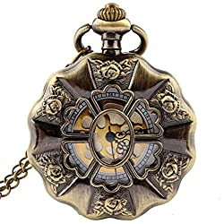 jklek Vintage Bronze Rose Flower Full Steel Pocket Watch Chain Unique Hollow Skeleton Mens Womens Pocket Watch