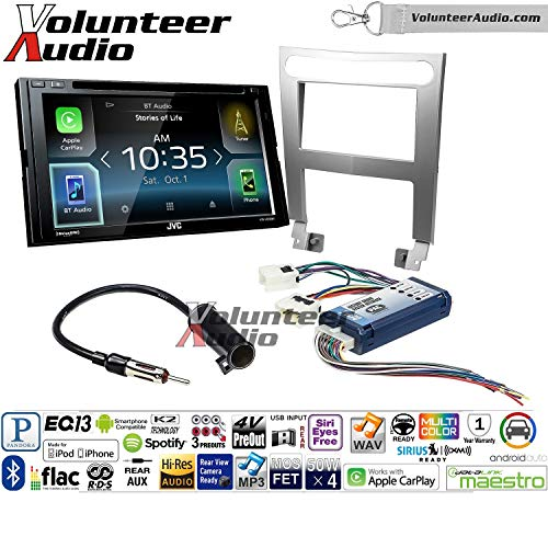 Volunteer Audio JVC KW-V830BT Double Din Radio Install Kit with Apple CarPlay and Android Auto Fits 2004-2006 Nissan Maxima (with Bose)