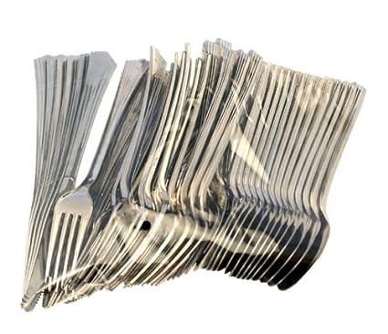 Ardisle 240 piezas de plástico plateado metálico tenedores de fiesta cucharas juego de cubiertos desechables Picnic