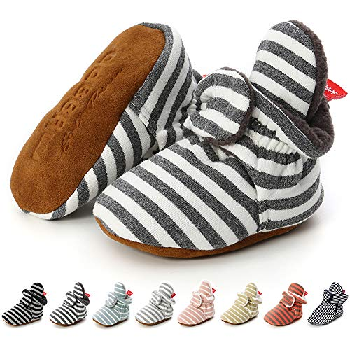 - Sawimlgy US Newborn Baby Boys Girls Cozy Fleece Booties Stay On Slippers Socks Infant Soft Soles Grippers Non-Skid Crib Shoe First Birthday Gift