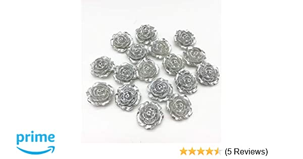 Gold 19mm Silver//Gold Rose Flowers Flatbacks Embellishments Resin Cabochons Cardmaking Scrapbooking for Phone Decorations DIY Crafts Pack of 20