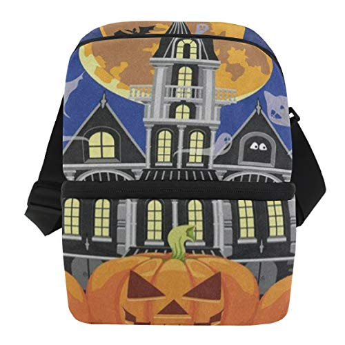 Lovexue Lunch Bag Halloween Castle Pumpkin Ghost Bat Full Moon Portable Cooler Bag Adult Leakproof Thermos Box Zipper Tote Bags for -