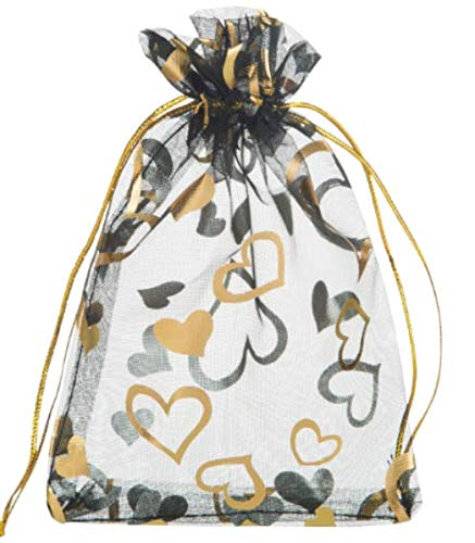 Lanswe 100 Pack Sheer Organza Drawstring Bags Heart Floral Print Jewelry Pouches Candy Gift Bags Wedding Party Favor Mesh Christmas Pouches (Black, 5