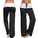CROSS1946 Fashion Women s Elastic High Waist Yoga Drawstring Pants Straight Leg Workout Trousers Loose Fit Grey Medium