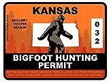 Bigfoot Hunting Permit - KANSAS (Bumper Sticker)