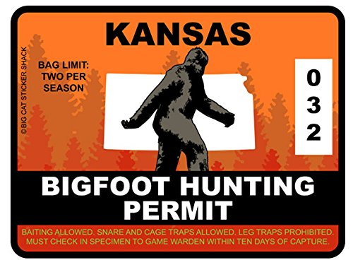 Bigfoot Hunting Permit - KANSAS (Bumper Sticker)