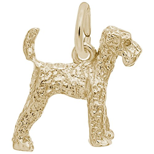Airedale Dog Charm - Gold Plated Airedale Dog Charm, Charms for Bracelets and Necklaces