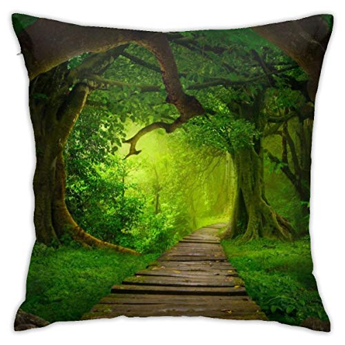 (Eratdatd Customized Small Wooden Bridge in Tropical Rainforest 45 X 45 cm Pillow Cover, Sofa Bed Pillow Durable, Machine Wash Pillow Cover)