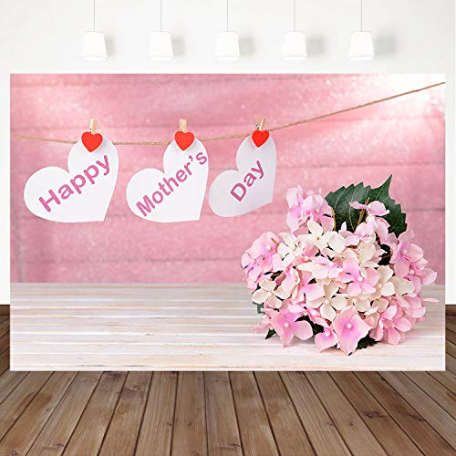 Mocsicka Pink Happy Mother's Day Backdrop Pink Bouquet Wood Wall Background Love Heart Decoration Photo Photography Background Mothers Day Party Banner Props 7X5ft Vinyl Backdrops]()