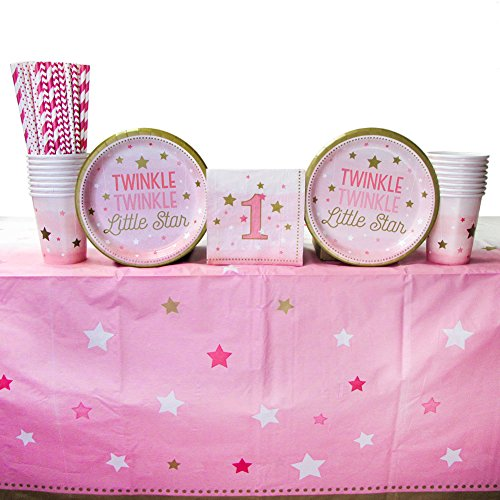 (One Little Star Girl Supply Pack for 16 Guests: Straws, Dessert Plates, Beverage Napkins, Cups,)