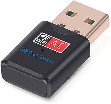 Blueshadow Adaptador USB WiFi 600 Mbps Banda Dual 2.4G / 5G Mini Wi-fi Adaptador de dongle de Red inalámbrica con Antena de Alta Ganancia para PC ...