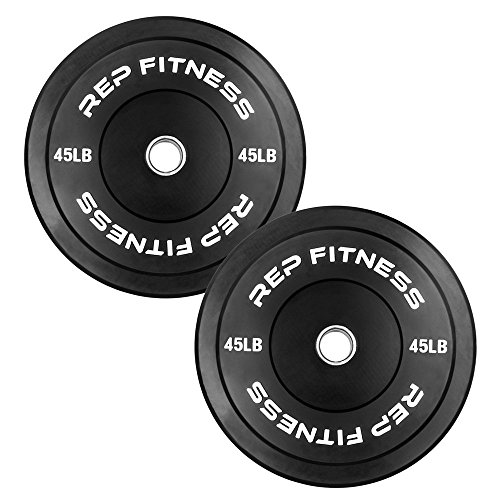 Rep Bumper Plates for Strength and Conditioning Workouts and Weightlifting 45 lb Pair