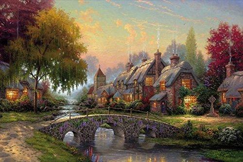 cobblestone bridge by thomas kinkade - Print on Canvas 35 x 24inch: Unframed