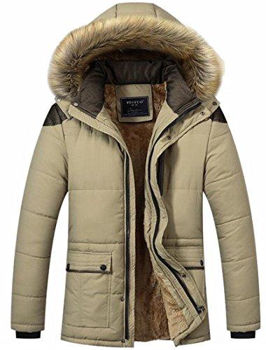 Lined Men's Fleece Jacket today Coat Fur UK Khaki Faux Outwear Hooded Parka AXXYw5