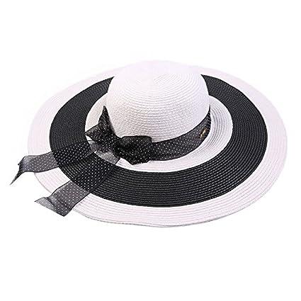 e3fe8c9bf31f9 Amazon.com: ALWLj Summer Straw Hat for Women Fashion Stripe Wide ...