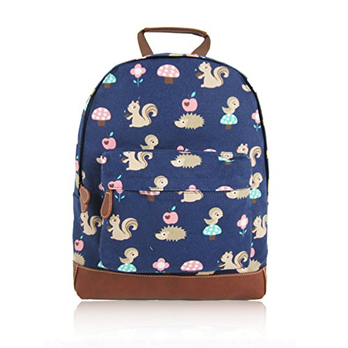 Craze London New KIDS Designer Style Canvas CRITTERS Print Backpack Bag JC Kids 'Back to School' Collection Dark Blue