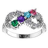 NANA Silver Infinity Mothers Ring with 1 to 6 Simulated Birthstones - Sterling Silver - Size 7.5