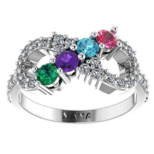 NANA Infinity Mothers Ring with 1 to 6 Simulated Birthstones - 10k White - Size 9.5 14k White Gold Six Prong