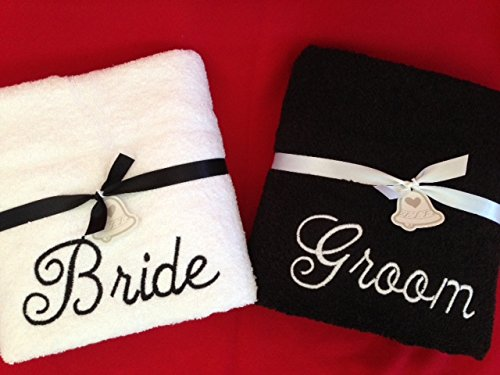 Set of 2 Bride & Groom Bath/Beach Embroidered Towels Wedding Gifts