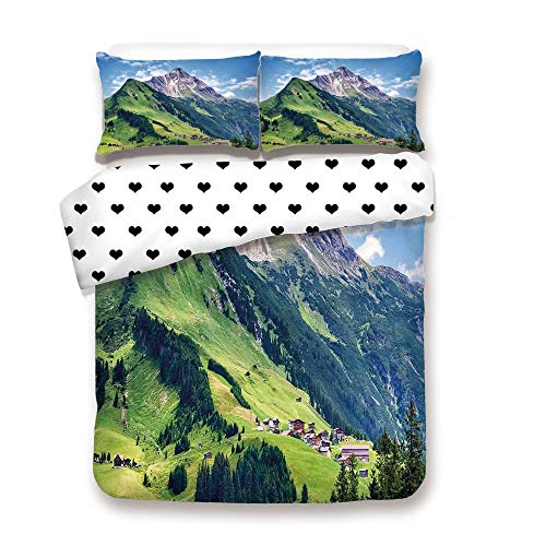 (Duplex Print Duvet Cover Set Twin Size/Spring in Countryside Rural Valley with Village Tranquil Serene Life Image/Decorative 3 Piece Bedding Set with 2 Pillow Sham,Green Blue,Best Gift For Your belove)