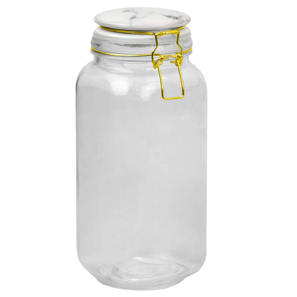 Home Basics GC45327 Proo 67 oz Canister with Marble Printed Ceramic Top (Gold) Airtight, Leak Proof, Wide Mouth French Glass Preserving Storage Mason Jar with Roun, Large, Clear