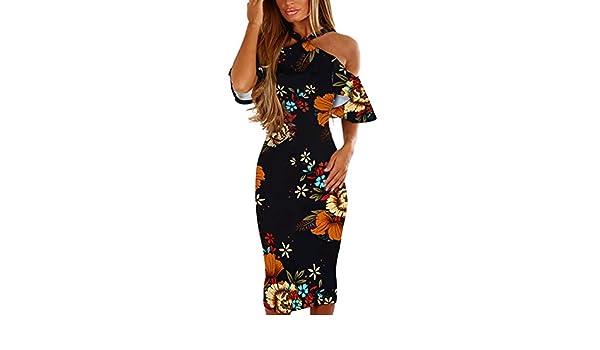 Beladla Vestidos De Mujer Sexy 2018 Sexy Estampado Floral Bohemia Maxi Ajustable Sin Mangas De Encaje-Up Split Maxi Vestido Largo: Amazon.es: Ropa y accesorios