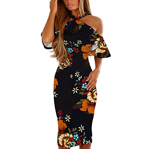 Print Floral Dress,Vintage Flare Cold Shoulder Bodycon Backless Princess Sundress Han Shi (Multicolor, L)