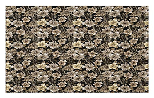 "Ambesonne Flower Doormat, Classic Victorian Style Old Fashioned Bouquets Lily Exotic Leaf Plants Print, Decorative Polyester Floor Mat with Non-Skid Backing, 30"" X 18"", Sepia Black Tan"