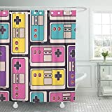 Emvency Shower Curtain Set Waterproof Adjustable Polyester Fabric Game Joysticks Colorful Overlapping with Personal Retro Device for Gaming 60 x 72 Inches Set with Hooks for Bathroom