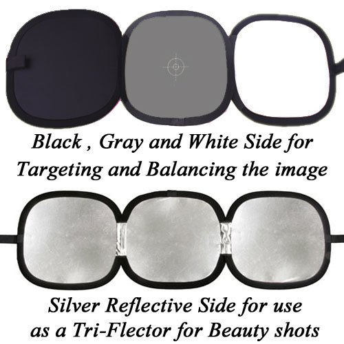 CowboyStudio Photo Studio 12-Inch Hand Hold Collapsible Disc, Tri-Fold Reflector and Gray Card/White Balance Digital Target Combo from CowboyStudio