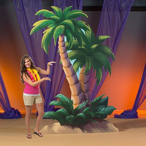 9 ft. 6 in. Vintage Tropical Luau Summer Palm Tree Standee Standup Photo Booth Prop Background Backdrop Party Decoration Decor Scene Setter Cardboard Cutout
