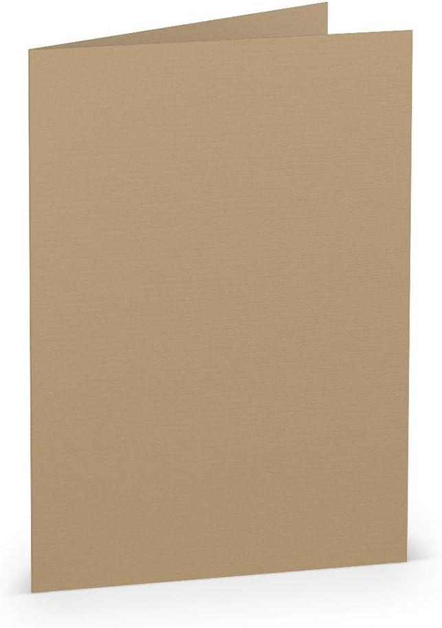 Doppelkarte vorgefaltet 220 g//m/² Klappkarten Basteln Einladungskarten Hochzeit Kommunion PAPERADO 25 Faltkarte DIN A6 Amarena gerippt 210 x 148 mm