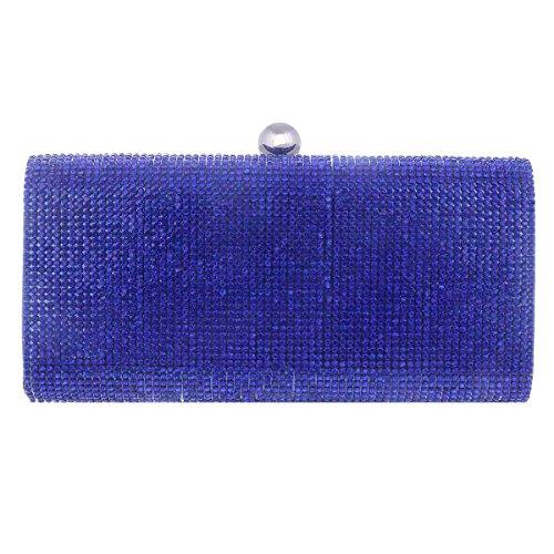 Sac Main Embrayage à Banquet Petit Damara de Femme Rectangle bleu Strass Synthétique Glitter Soirée Sac Pochette 7wHBfqA
