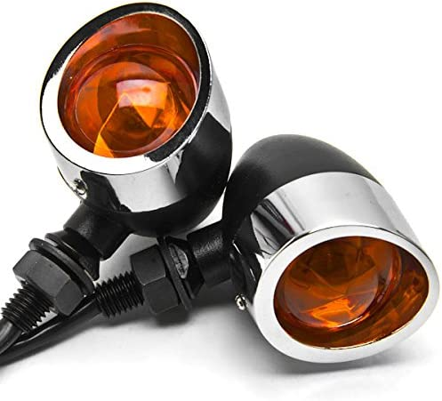 Krator JBM-035-CB Black Turn Signals 2pc // Chrome Heavy Duty Motorcycle Indicators Blinkers Lights