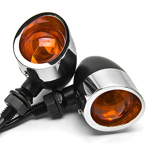 Krator 2pc Black/Chrome Motorcycle Turn Signals Lights For Victory Hammer 8-Ball