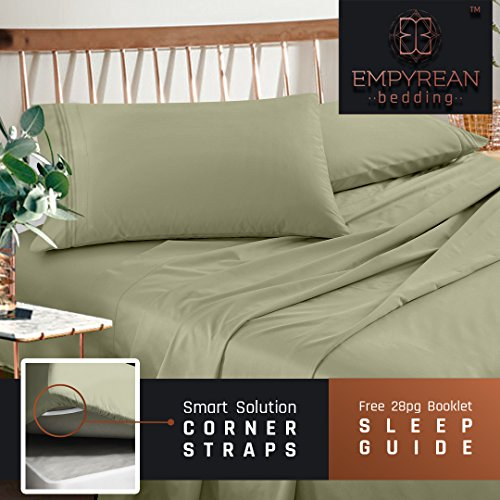 Microfiber Olive Green (Premium Queen Sheets Set - Green Sage Olive Hotel Luxury 4-Piece Bed Set, Extra Deep Pocket Special Super Fit Fitted Sheet, Best Quality Microfiber Linen Soft & Durable Design + Better Sleep Guide)