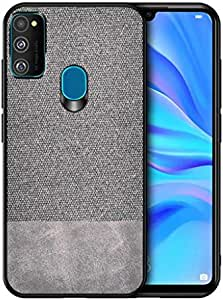 ZUR Case Ultra Leather Shockproof Cover For Samsung Galaxy M30s grey color